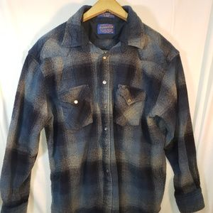 Pendleton 100 wool Long sleeve Flannel Pearl Snap